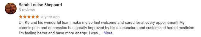 Sarah 120 Acupuncture Google Review
